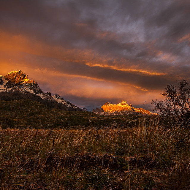"""Patagonia - Torres del Paine at Sunset"" stock image"