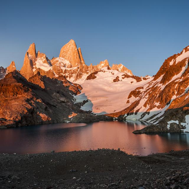 """""""Patagonia - The Fitz Roy Range at Sunrise"""" stock image"""