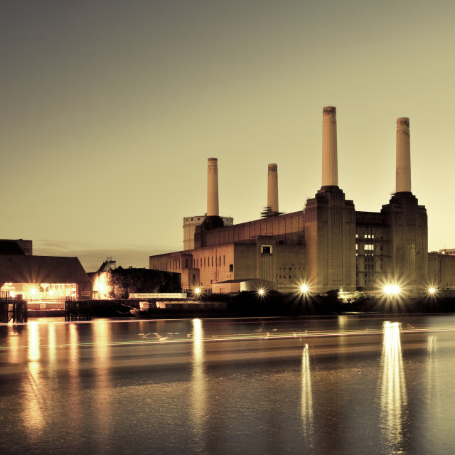 """Battersea Power Station, London - Sunset"" stock image"
