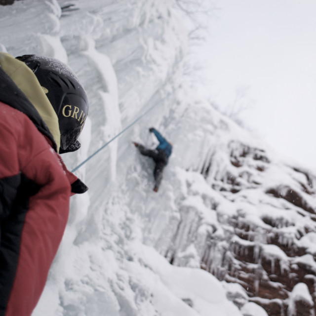 """Ice climbing in the arctic"" stock image"