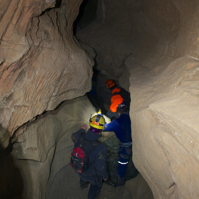 """""""People guided trough cave"""" stock image"""