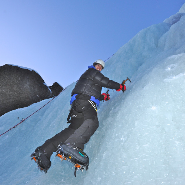 """""""Ice climbing in the arctic"""" stock image"""