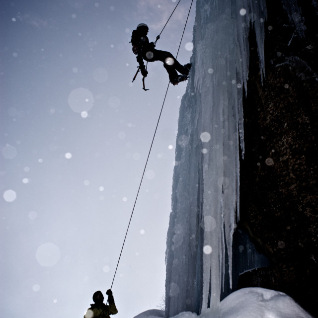 """Ice-climbing in the arctic"" stock image"