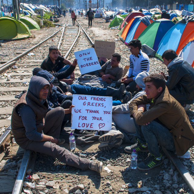 """Syrian refugees in protest on the border with Macedonia to Idomeni in Greece"" stock image"