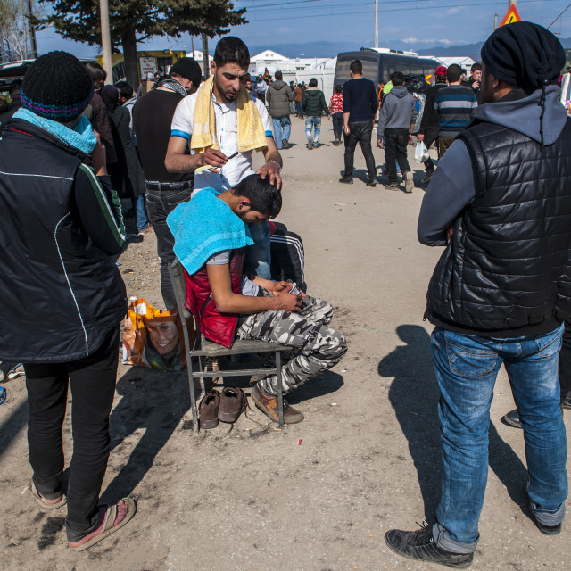 """Barber makeshift refugee camp in Greece Idomeni"" stock image"