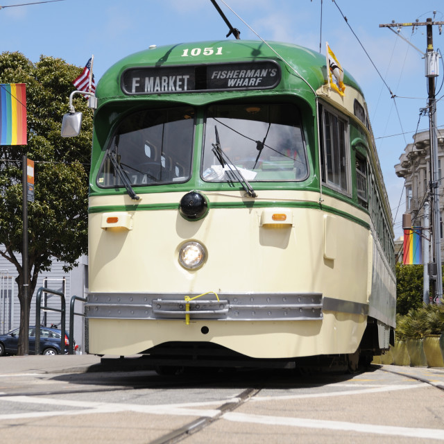 """""""Trolleybus in the Castro"""" stock image"""