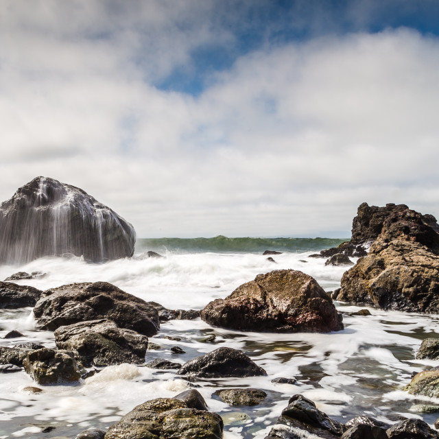 """""""A long exposure of waves in San Francisco"""" stock image"""