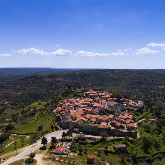 """""""Aerial view of the Castelo Mendo Village in Portugal; Concept for travel in Portugal"""" stock image"""