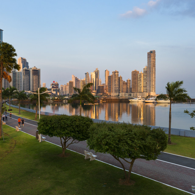"""Panama City, Panama - March 18, 2014: View of the downtown of Panama City in Panama at sunset."" stock image"