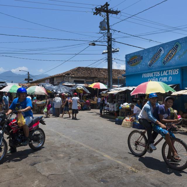 """Granada, Nicaragua - April 4, 2014: People in a street market in the colonial city of Granada, Nicaragua"" stock image"