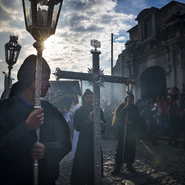 """Penitents in an Easter procession during the Holy Week in Antigua, Guatemala"" stock image"