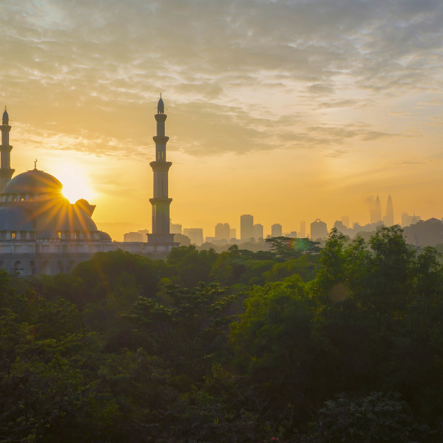 """Majestic sunrise at Kuala Lumpur Federal Territory Mosque"" stock image"