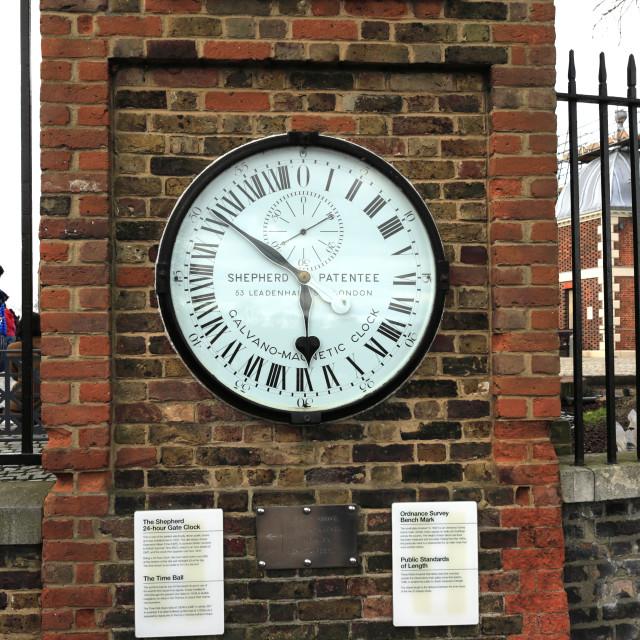 """The Shepherd Gate 24hr clock, Public Measures of Length, and Ordnance Survey..."" stock image"