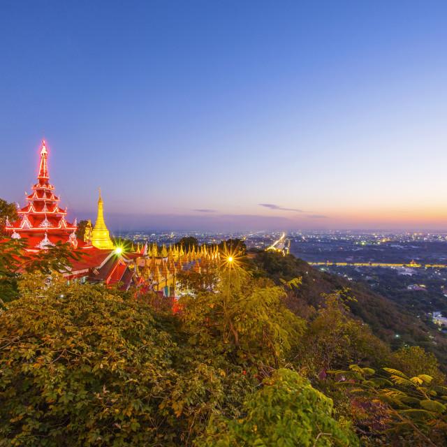 """Golden Pagoda on Mandalay Hill, Mandalay, Myanmar"" stock image"