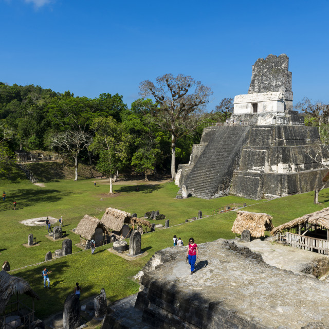 """People in the ancient Maya City of Tikal in Guatemala, Central America"" stock image"