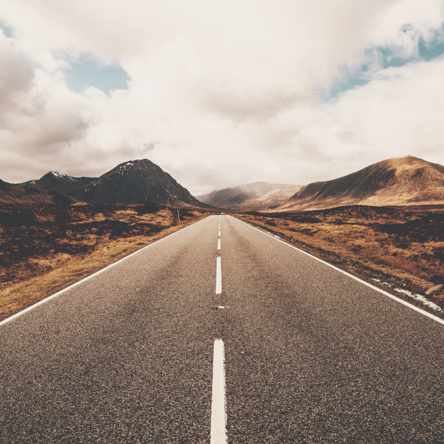"""Open road in Glencoe, Scotland. Scottish Highlands."" stock image"