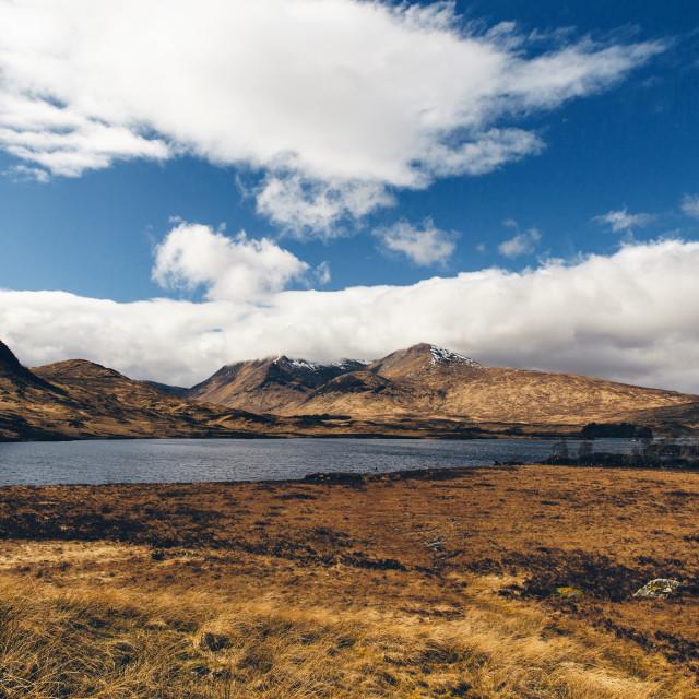 """Glencoe landscape in Scotland on sunny day with blue sky. Scotti"" stock image"