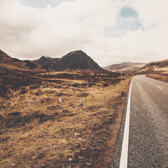 """A82 Road in Glencoe Scotland. Scottish Highlands."" stock image"