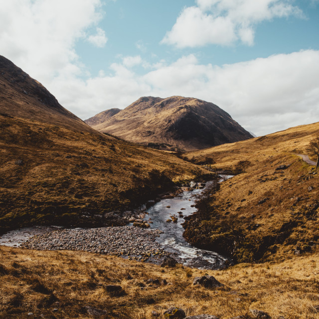 """Glen Etive valley on sunny day in Scotland. Scottish Highlands."" stock image"