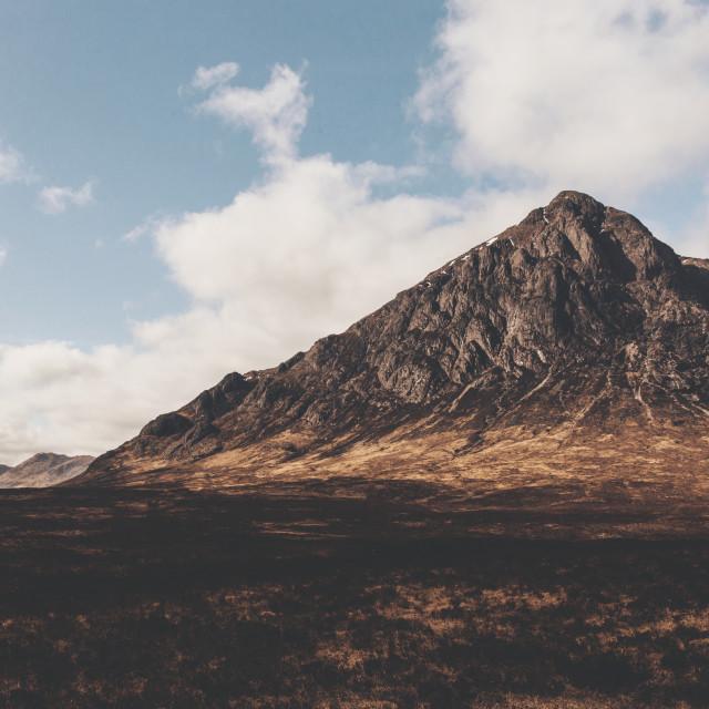 """Glen Etive mountain in Glencoe Scotland. Scottish Highlands."" stock image"