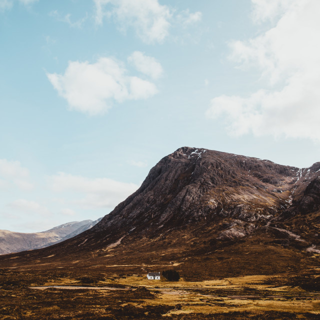 """Glencoe mountains on sunny day with blue sky in Scotland. Scotti"" stock image"