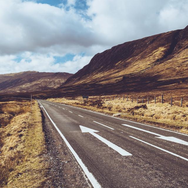 """Open road in Glencoe, Scotland. Scottish Highlands."" stock image"