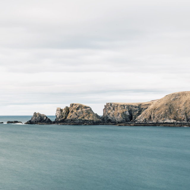 """Farr Bay rocks in the sea in Sutherland, Scotland. Scottish High"" stock image"