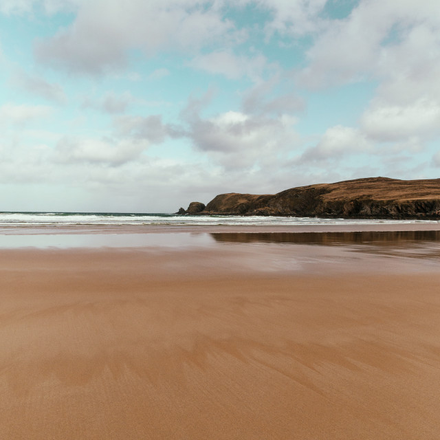"""Sand beach at Farr Bay, Bettyhill, Sutherland, Scotland."" stock image"
