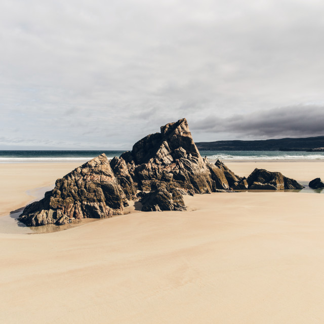 """Sandy beach on coast of Durness, Sutherland, Scotland."" stock image"