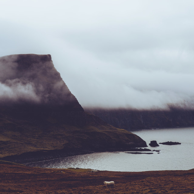"""Misty cloud on coast of Isle of Skye Scotland"" stock image"