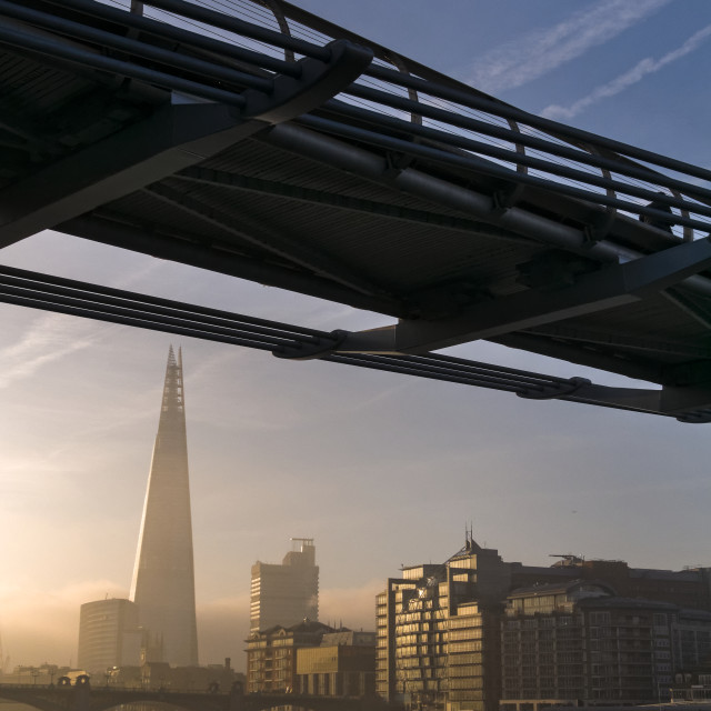 """""""Sunrise over The Shard Building and River Thames, London."""" stock image"""