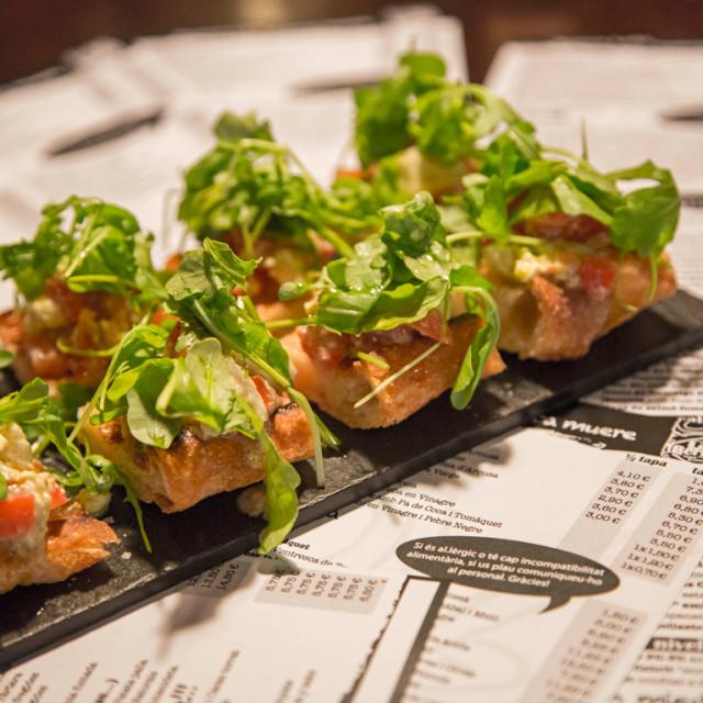 """Crunchy bread with mozzarella"" stock image"
