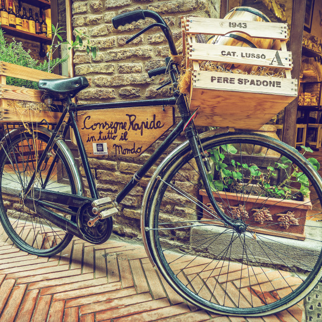 """Bicycle retro, Alley in old town, Tuscany, Italy"" stock image"