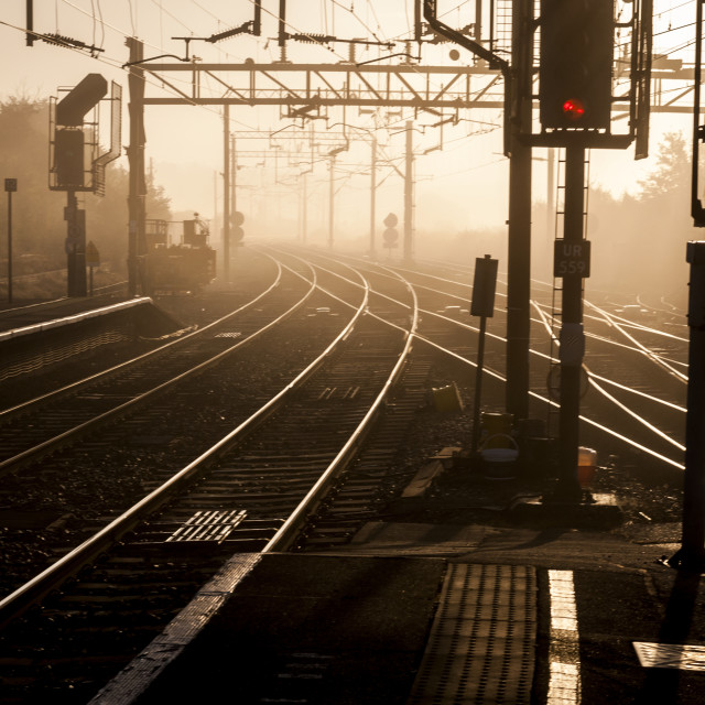 """Railway Junction showing Points and Signals"" stock image"