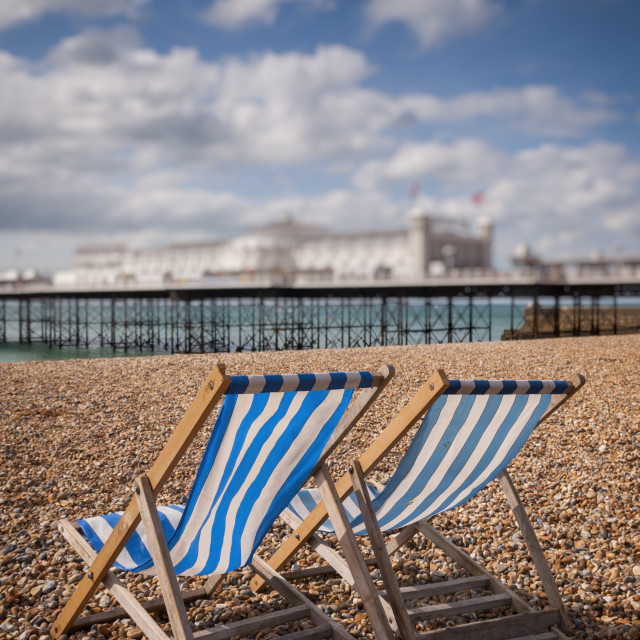 """Empty Deckchairs on Beach, Brighton"" stock image"