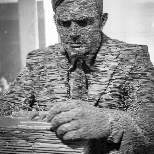 """""""Slate Statue of Alan Turing, Bletchley Park"""" stock image"""