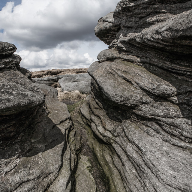 """Granite rocks of Kinder, Derbyshire, UK"" stock image"