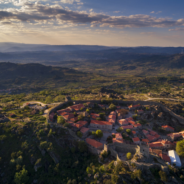 """""""Aerial view of the historic village of Sortelha in Portugal; Concept for travel in Portugal"""" stock image"""