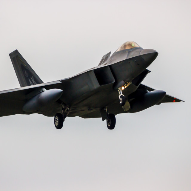 """F-22 Raptor on approach"" stock image"