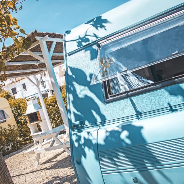"""""""Blue vintage caravan"""" stock image"""