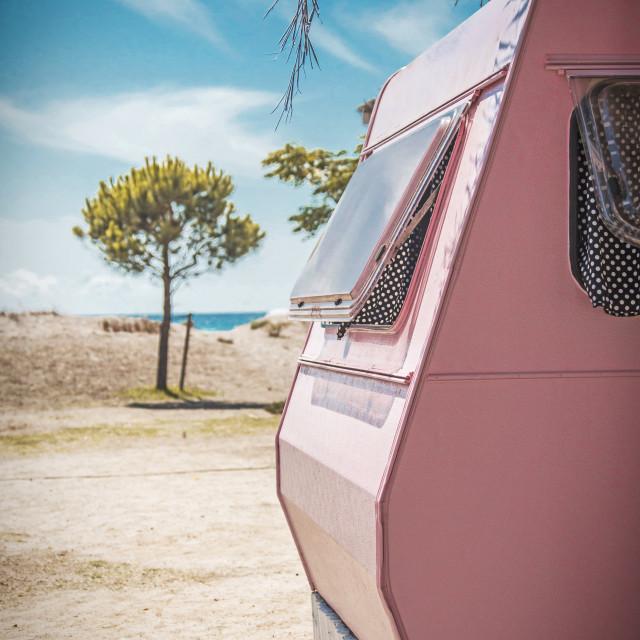 """""""Pink vintage caravan"""" stock image"""