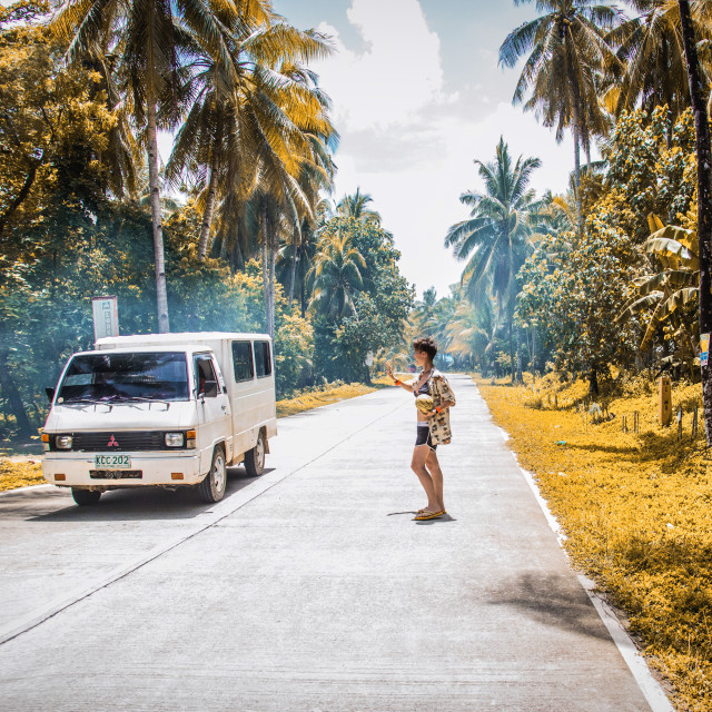 """Saying hello in Philippines"" stock image"