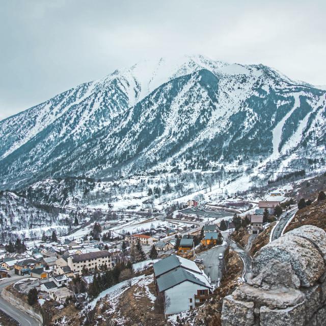 """Village in winter in Porté"" stock image"