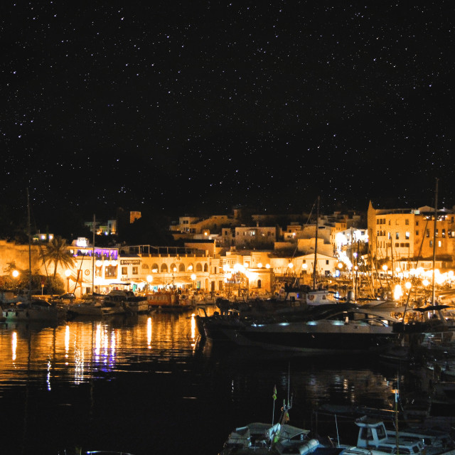 """Menorca's harbour at night"" stock image"