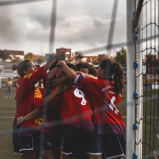 """Team celebrating goal"" stock image"