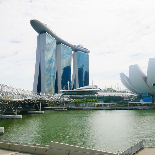 """Singapore Helix Bridge, Marina Bay Sands and ArtScience Museum"" stock image"