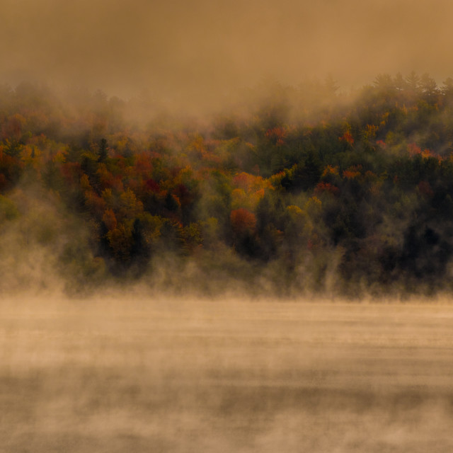 """New England Fall early morning mist"" stock image"