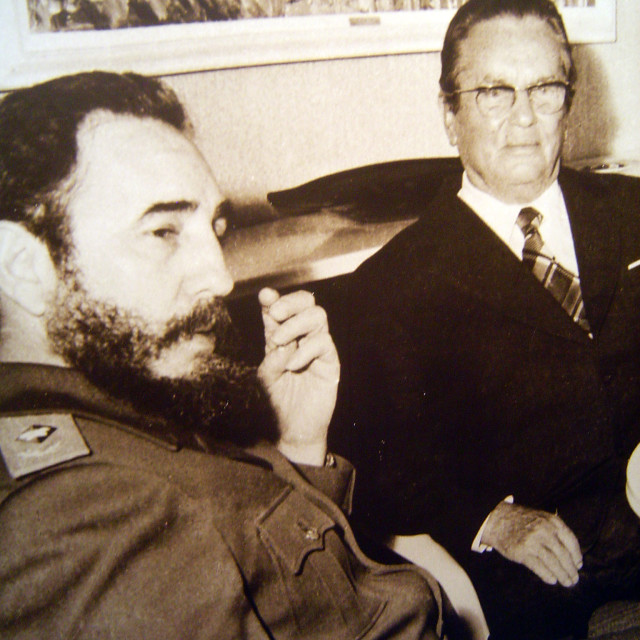 """Fidel Castro and Tito,archive photo,islands Brioni,Brijuni,Croatia"" stock image"