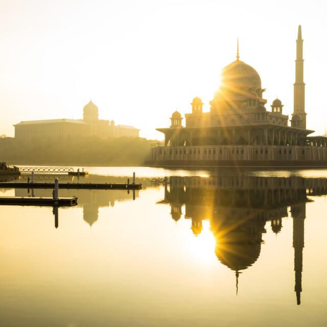 """Sunrise moment at Putra Mosque, Putrajaya of Malaysia"" stock image"