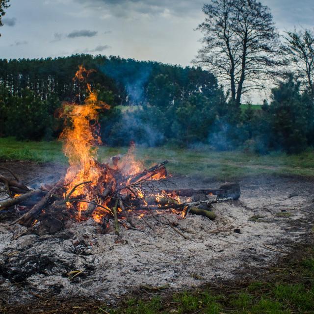 """Bonfire At Dusk"" stock image"